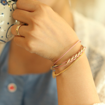 [시즌 세일-30%]Leather 4 layered metal Bracelet
