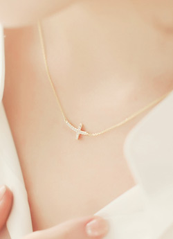 Horizontal CrossSilver Necklace